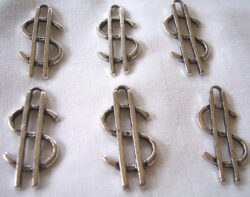 large dollar sign charm pendants in silver finish - 6 for $3.95