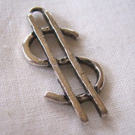 Large dollar sign charm - 6 pieces for $3.95 with free shipping