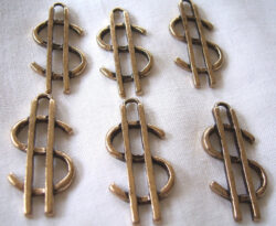 dollar sign charm in gold finish - pkg. of 6 for $3.95 with free shipping