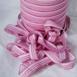 Foldover elastic FOE pink stripe with sparkle - 5 yards for $4.50 with free shipping