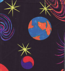 cotton sewing and quilting fabric celestial planets 2 pc lot