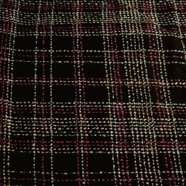 Black pink white plaid boucle fabric