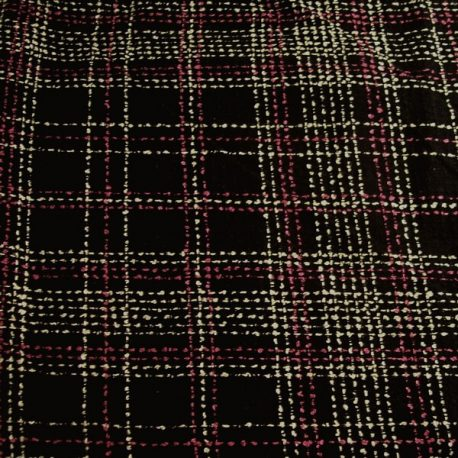 Black pink white plaid boucle fabric