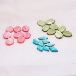 Mother of Pearl MOP Oval Beads Coral Green
