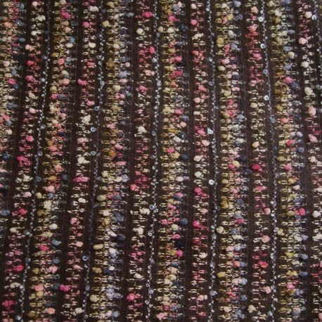 Multicolor brown stripe boucle fabric on sale for $7.95