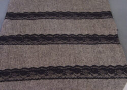 grey tweedy fabric with black lace strips for sale $7.95 with free shipping
