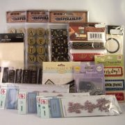 leather accents and embroidered fabric labels for scrapbooking and mixed media