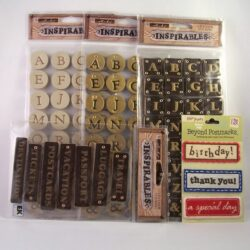 leather initials and fabric labels scrapbooking lot for sale