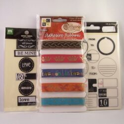 leather initials and fabric labels for mixed media collage and scrapbooking - lot for sale