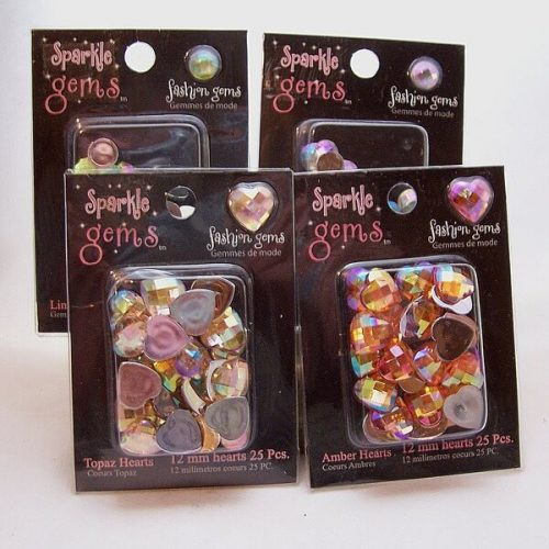 acrylic flat back gemstones in 12mm hearts and 8mm rounds $7.95 free shipping