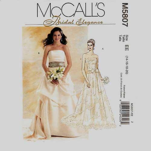 Mccalls 5807 Bridal Gown Pattern Sizes 14 16 18 20 Scrap Pony