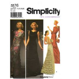 Simplicity 5876 floor length evening gown with ruffled back in sizes 14-20.