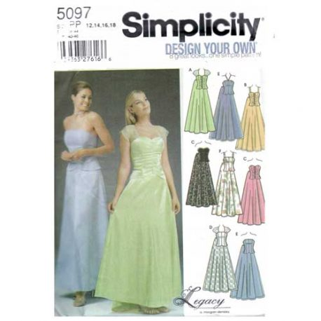 simplicity 2 piece evening dress - corset top and long skirt - $4.95 with free shipping