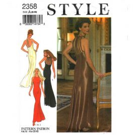 Style 2358 evening gown dress pattern with strappy back and small train in sizes 6-16.