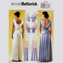 Butterick 4129 low back evening gown top and skirt pattern in sizes 12-14-16.