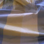 """Shades of blue and yellow plaid dupioni silk fabric - 3 yards by 54"""" wide."""