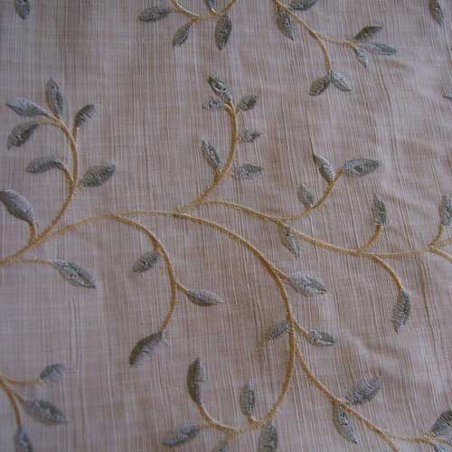 """Embroidered green leaves on linen look polyester home dec fabric 1-1/2 yards x 56"""" wide."""