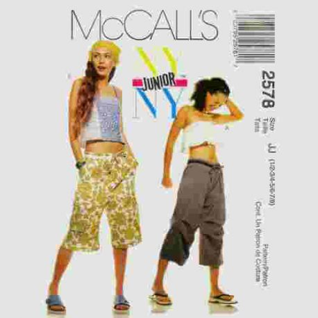 Mccalls 2578 Junior cargo pants, shorts and summer tops in sizes 1/2, 3/4, 5/6 and 7/8.