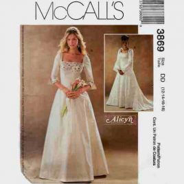 McCalls 3869 Alicyn Folk Medieval style wedding dress pattern in sizes 12-14-16-18.
