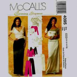 McCalls 4095 Evening Elegance Pattern - wrap top, skirt and pants in sizes 10-12-14-16.