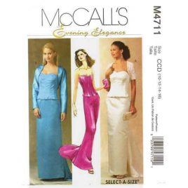 McCalls 4711 corset top and skirt evening gown pattern in sizes 10-12-14-16.