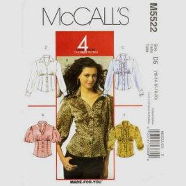 McCalls 5522 empire waist shirt pattern in sizes 12-14-16-18-20.