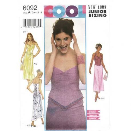 New Look 6092 Corset top and skirt pattern in sizes 3/4 - 13/14.