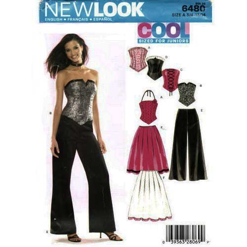 New Look 6480 Corset top skirt and pants pattern in sizes 3/4 - 13/14.