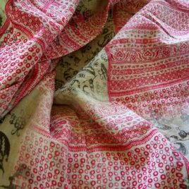 "Bohemian style Indian Block Print in Cotton Gauze in beige and pinkish red tones. 3 yards x 52"" wide."