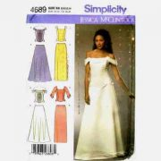 Simplicity 4689 bridal gown or evening gown top and skirt pattern in sizes 8-10-12-14.