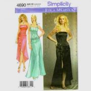 Simplicity 4690 corset top and skirt evening dress pattern in sizes 14-16-18-20