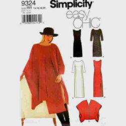 Simplicity 9324 Sheath Dress and Ruana Wrap Pattern in sizes 14-16-18-20
