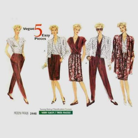 Vogue 2446 wrap top, skirt, pants and jacket pattern in sizes 8-10-12.