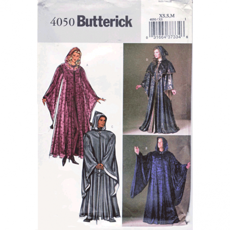 butterick 4050 hooded robe wizard costume pattern