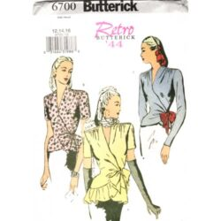 butterick 6700 retro 1940s wrap top sewing pattern