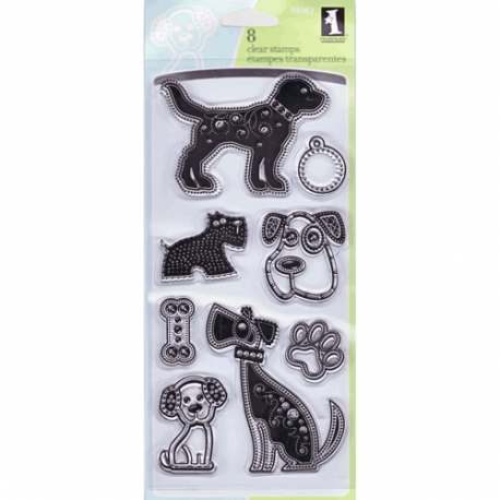 Inkadinkado Gemstone Dogs clear acrylic stamp set