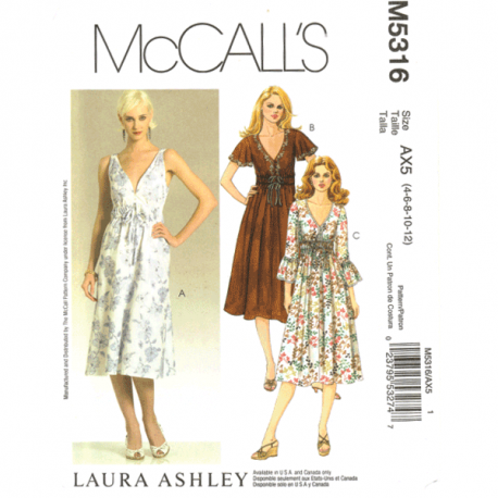 mccalls 5316 empire style dress sewing pattern