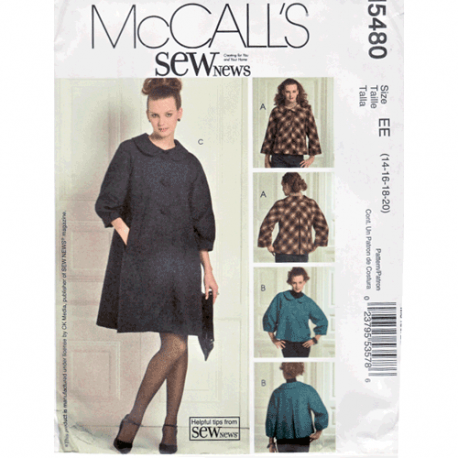mccalls 5480 swing jacket or coat sewing pattern