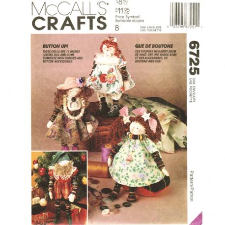 mccalls 6725 Button dolls Christmas elf craft pattern