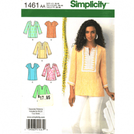 simplicity 1461 tunic top sewing pattern