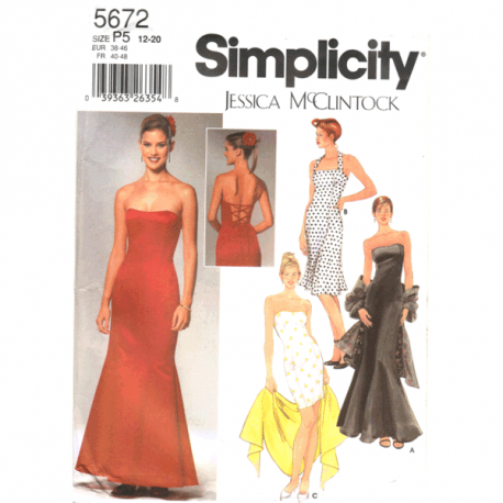 simplicity 5672 evening dress sewing pattern by Jessica McClintock