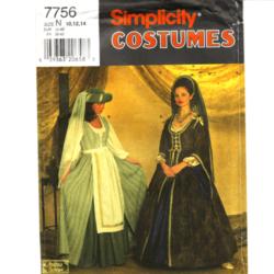 simplicity 7756 renaissance costume sewing pattern