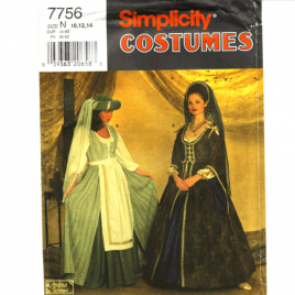 simplicity 7756 renaissance costume sewing pattern