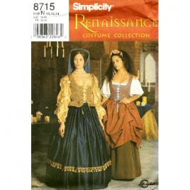 simplicity 8715 renaissance costume pattern