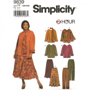 simplicity 9839 top pants skirt plus size sewing pattern