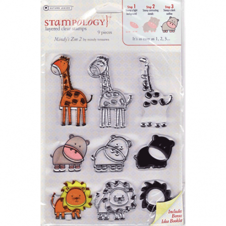 stampology Mindy's Zoo clear acrylic stamp sets