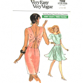 vogue 7208 vintage open back dress sewing pattern
