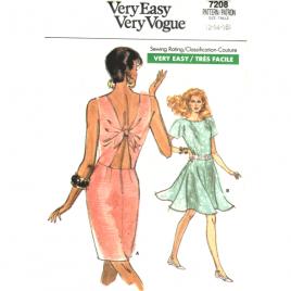 vogue 7208 vintage open back dress sewing pattern