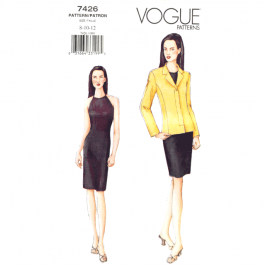 vogue 7426 halter dress and jacket sewing pattern
